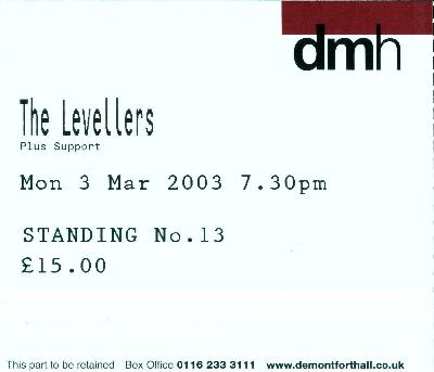 03 March 2003: Levellers - De Montfort Hall, Leicester, England, UK
